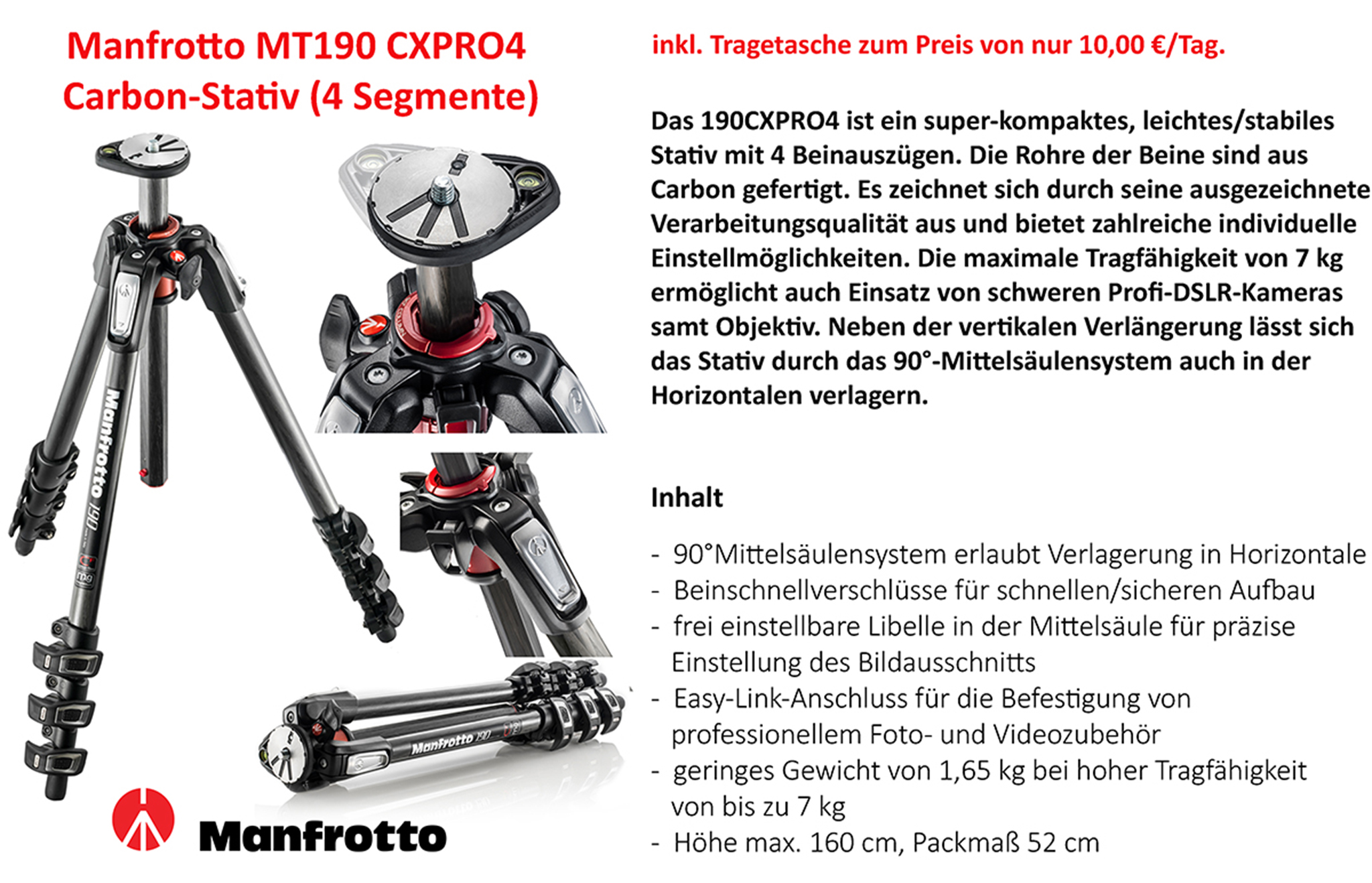 Manfrotto MT190XPRO4 Stativ