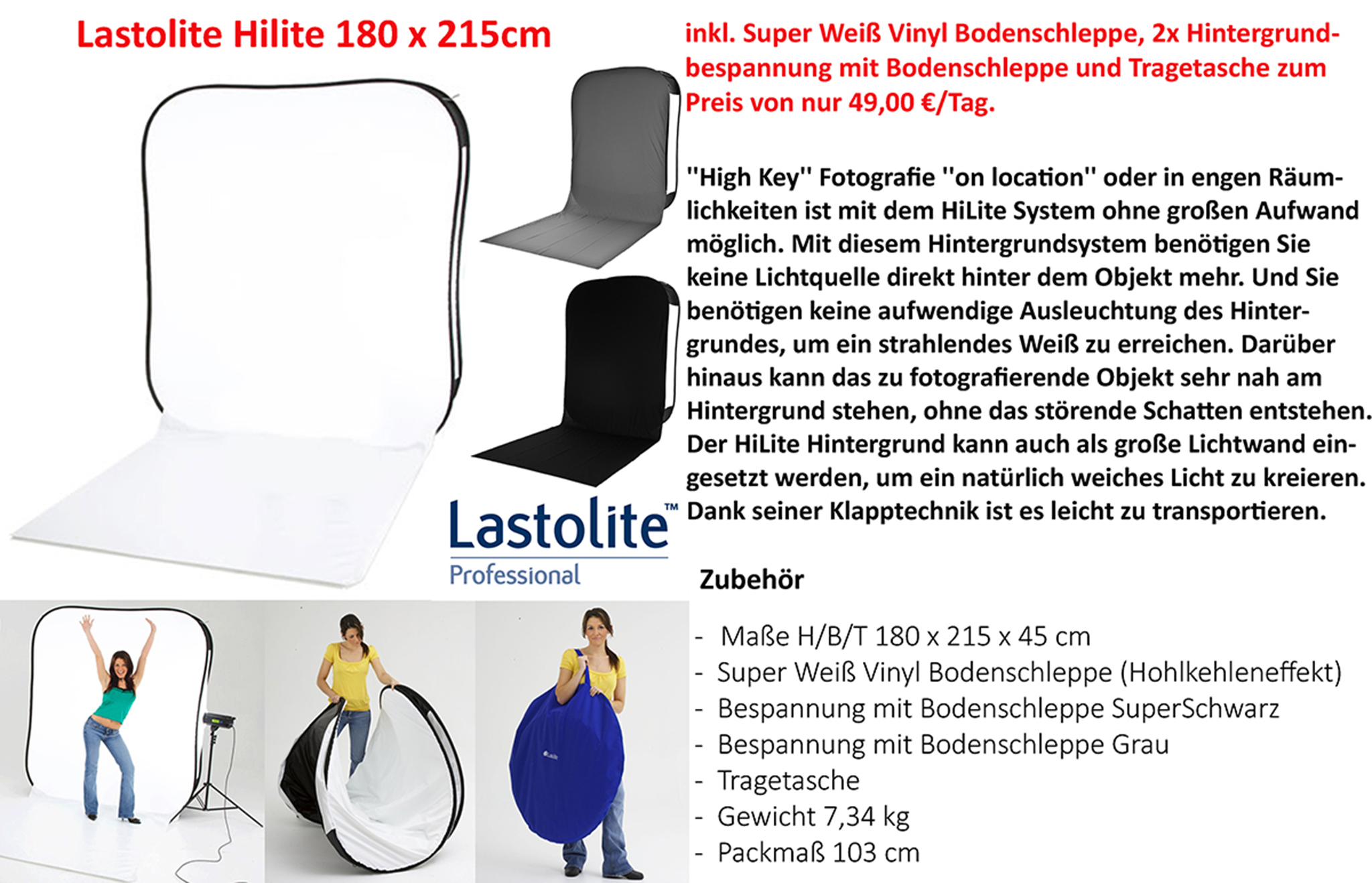 Lastolite Hilite Leuchthintergrund 180 x 215cm