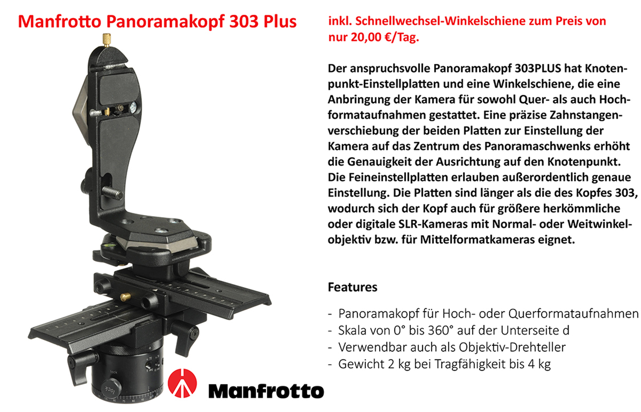 Manfrotto Panoramakopf 303 Plus