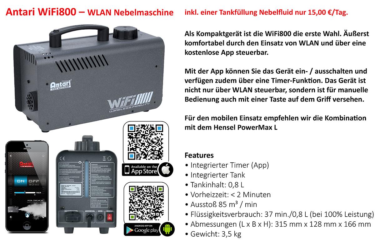 Nebelmaschine Verleih Antari W800 wifi